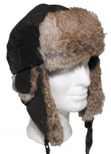 Leather hat with rabbit fur