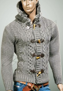 Men knited jacket with hood Walter
