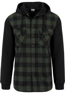 Hooded Checked Flanell Sweat Sleeve Shirt Rudy